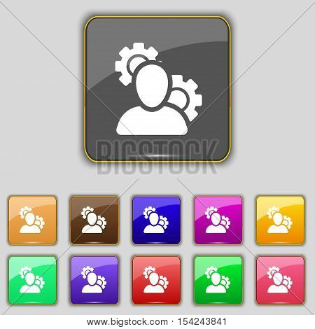 Profile Setting Icon Sign. Set With Eleven Colored Buttons For Your Site. Vector