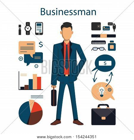 Isolated male businessman on white background. Young businessman with all the tools like charts, phone, glasses and more.