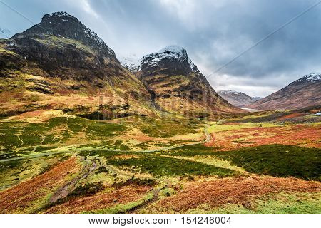 View Of The Mountains And Pass In Glencoe, Scotland