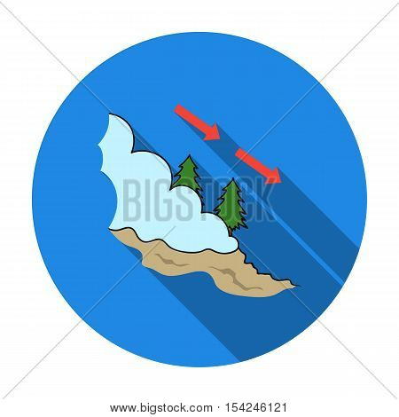 Avalanche icon in flat style isolated on white background. Ski resort symbol vector illustration.