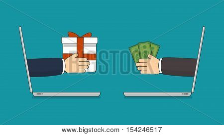 Online shopping concept. Fast delivery. Two laptops with hands holding money and gift.