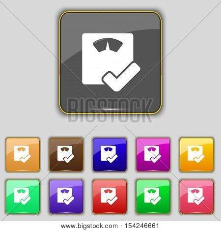 Bathroom Scales Icon Sign. Set With Eleven Colored Buttons For Your Site. Vector