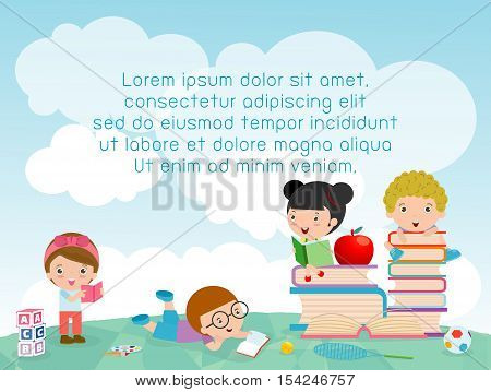 back to school, kids school, education concept, Kids go to school, Template for advertising brochure, your text ,Kids and frame,child and frame,Vector Illustration, Cute cartoon happy children.
