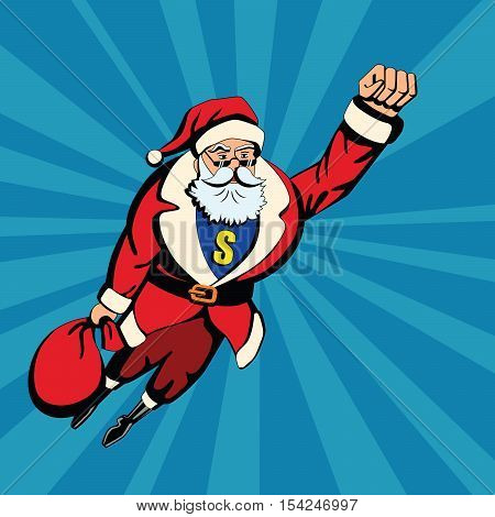 Pop art santa. Santa Claus as superhero flying with red bag of gifts. Yellow S letter.