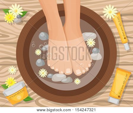 Feet vitamin care cream colorful cartoon style composition with beautiful female legs in basin on wooden table vector illustration