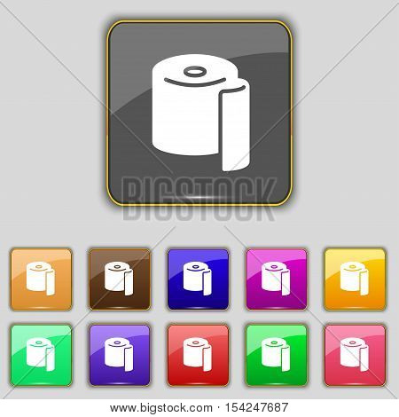 Toilet Paper Icon Sign. Set With Eleven Colored Buttons For Your Site. Vector