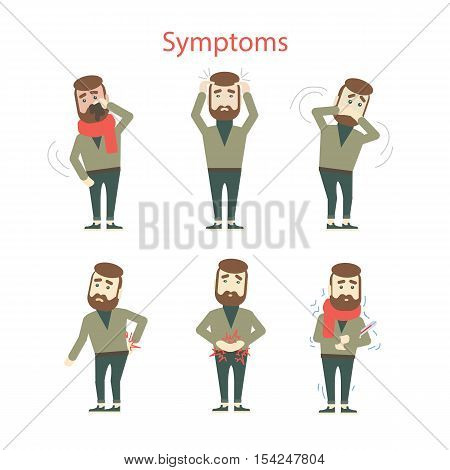Different symptoms set. Isolated cartoon man showing symptoms of desease or flu. Headache, dizziness, nausea.