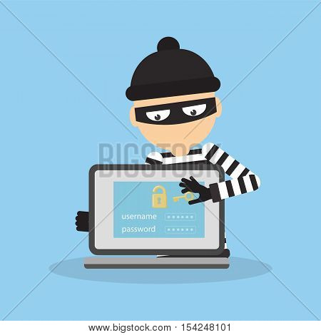 Concept of hacking. Thief trying to hack personal information and download data.