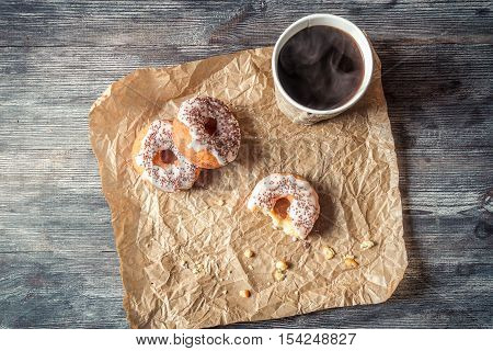 Hot Coffee And Donuts Given In The Paper