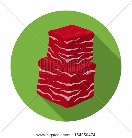 Diced beef icon in flat style isolated on white background. Meats symbol vector illustration