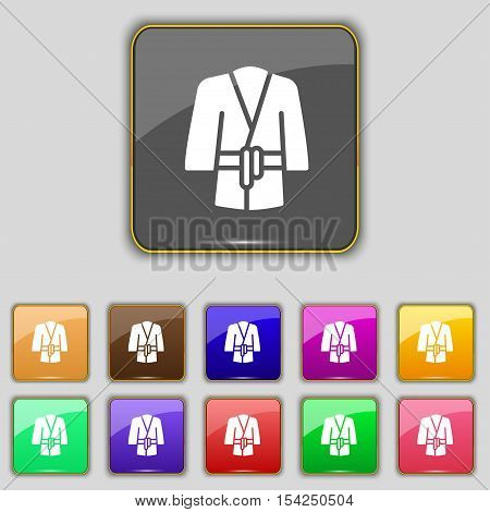 Bathrobe Icon Sign. Set With Eleven Colored Buttons For Your Site. Vector