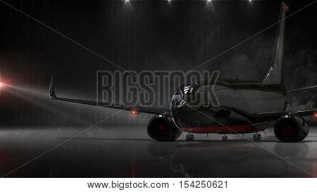 Top Secret aircraft concept - 3d render