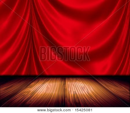 Red Satin Drapes On Stage