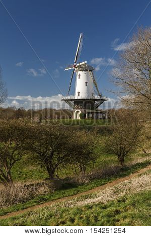 White windmill in Veere standing in the polder in the winter sunlight.