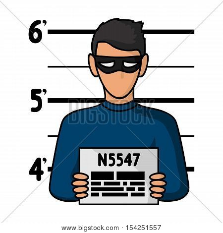Prisoner's photography icon in cartoon style isolated on white background. Crime symbol vector illustration.