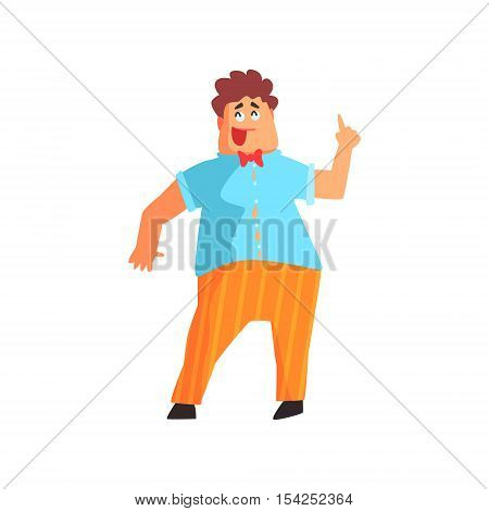 Flamboyant Chubby Know-it-all Guy Character. Graphic Design Cool Geometric Style Isolated Drawing On White Background