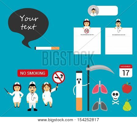 Set dangers of smoking. Flat vector illustration and elements. Doctors holds a notepad sheet. Cigarette with a scythe.