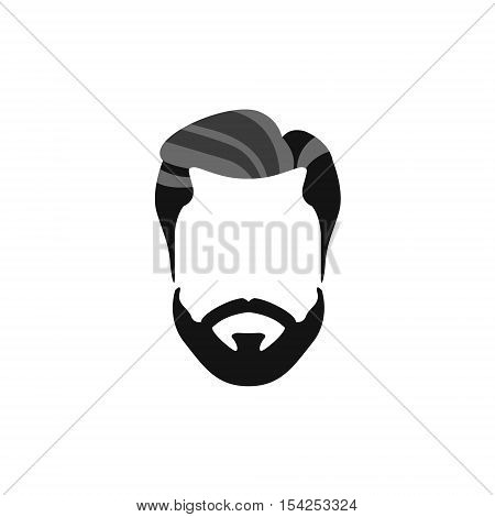 Hipster Male Hair and Facial Hair Style With Beard And Chevron Moustache.Hair, Beard And Moustache Style Design Template