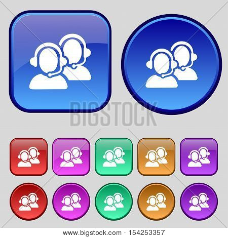 Call Center Icon Sign. A Set Of Twelve Vintage Buttons For Your Design. Vector
