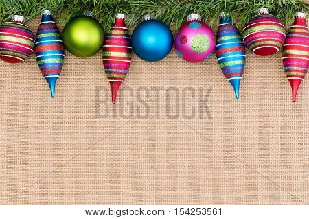Colorful Border Of Christmas Tree Ornaments