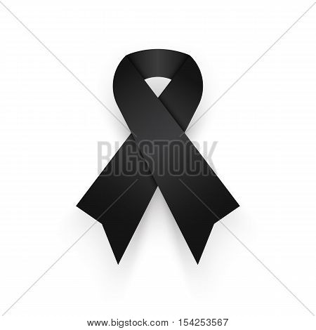 Black ribbon on white background . mourn for king of thailand pass away . rest in peace .