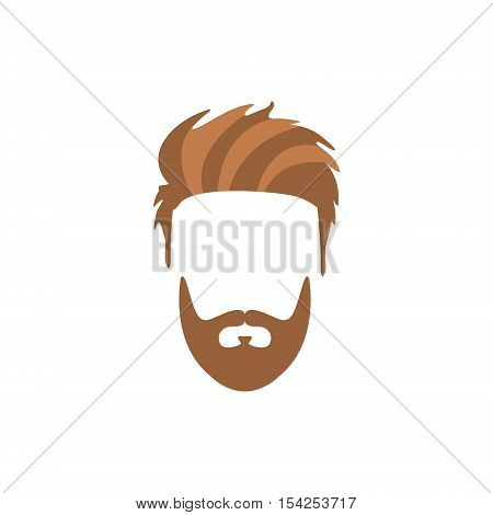 Hipster Male Hair and Facial Hair Style With Staline Moustache And Full Beard.Hair, Beard And Moustache Style Design Template