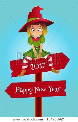 Merry christmas colorful card design, Santa Claus elf helper sitting on the wooden pointer. Happy New Year Greeting Background .
