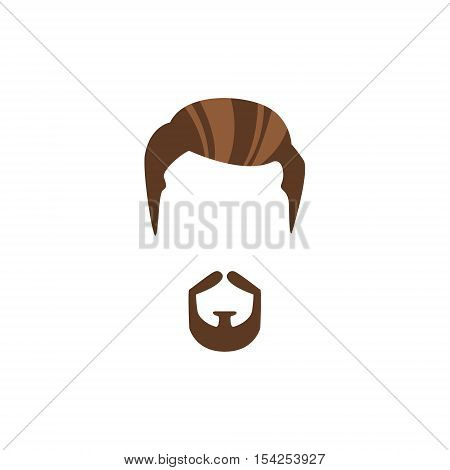 Hipster Male Hair and Facial Hair Style With Circle Beard.Hair, Beard And Moustache Style Design Template