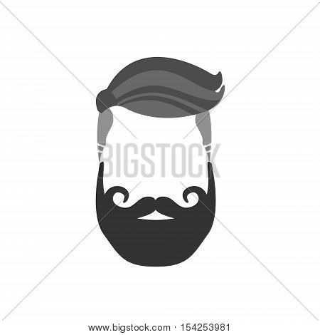 Hipster Male Hair and Facial Hair Style With Verdi Beard And French Moustache.Hair, Beard And Moustache Style Design Template