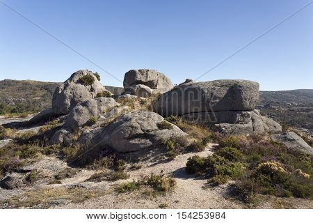 Detail of the rocky environment of the medieval castle in Castro Laboreiro Northern Portugal