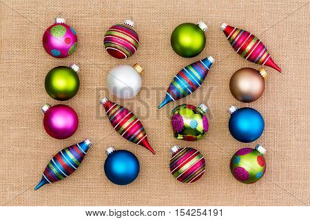 Assortment Of Bright Colorful Christmas Ornaments