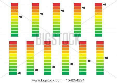 Color coded progress level indicator with units. Vector illustartion