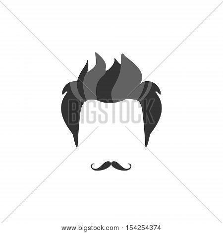 Hipster Male Hair and Facial Hair Style With French Moustache.Hair, Beard And Moustache Style Design Template