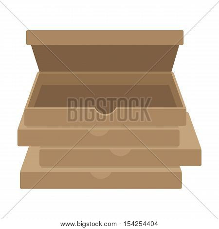 Pizza boxes icon in cartoon style isolated on white background. Pizza and pizzeria symbol vector illustration.