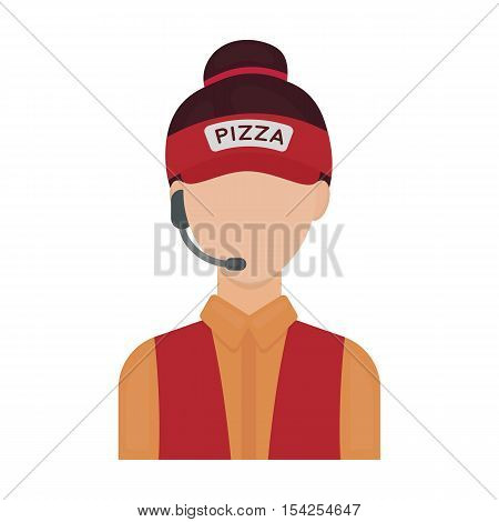 Saleswoman icon in cartoon style isolated on white background. Pizza and pizzeria symbol vector illustration.