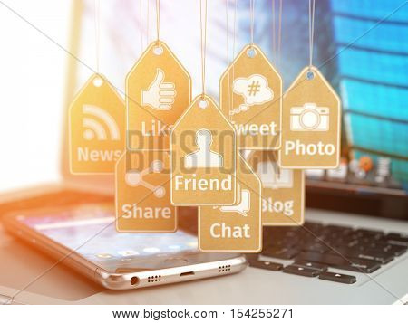 Laptop, mobile phone and signs of social media apps on the labels. Social media internet communication concept. 3d illustration