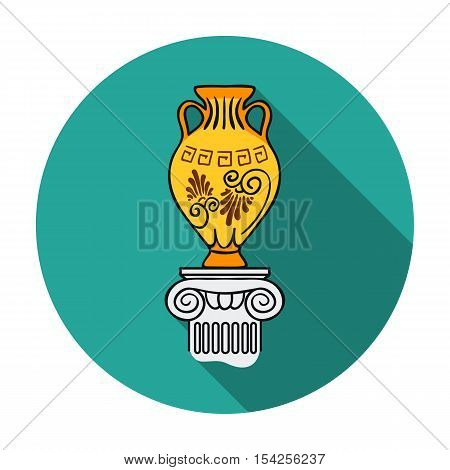Amphora icon in flat style isolated on white background. Museum symbol vector illustration.
