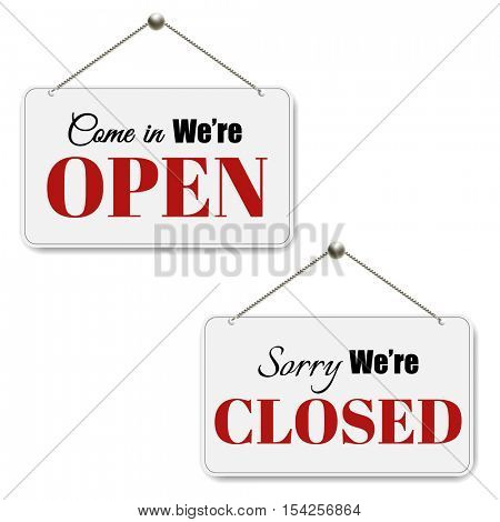 Open And Closed Signs SetWith Gradient Mesh, Vector Illustration