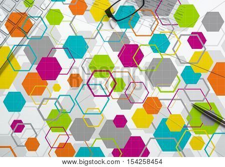 Geometric abstract background. Geometric pattern superimposed on an office still life
