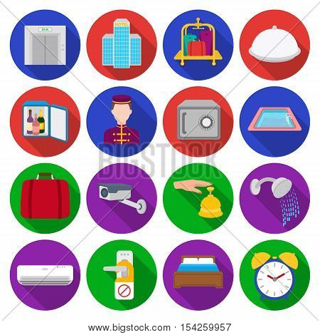 Hotel set icons in flat style. Big collection of hotel vector symbol stock