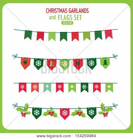 Christmas Garland And Flags Decoration Elements Set. Winter Holidays Vector Clip Art On White Background. New Year Garland Decorations. Snowflakes Christmas Balls Vector.
