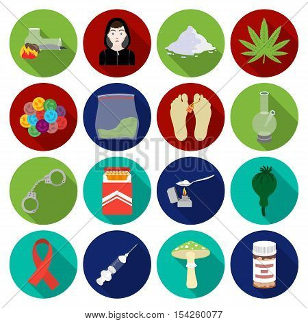 Drugs set icons in flat style. Big collection of drugs vector symbol stock
