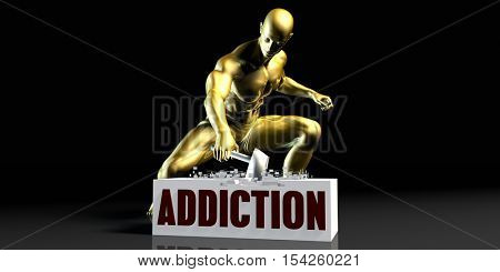 Eliminating Stopping or Reducing Addiction as a Concept 3d Illustration Render