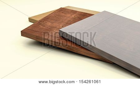 Wooden furniture boards with copy space 3d illustration