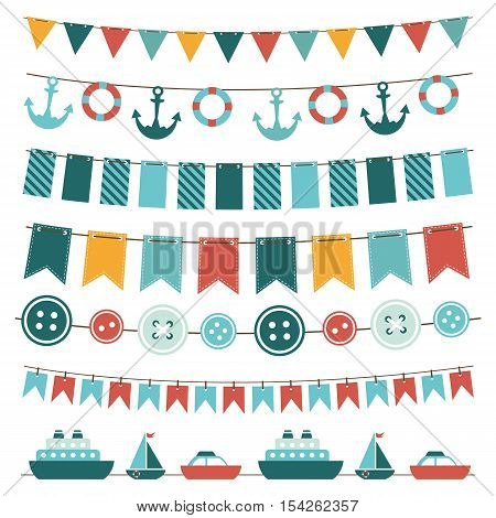 sea theme garland and bunting set isolated on white