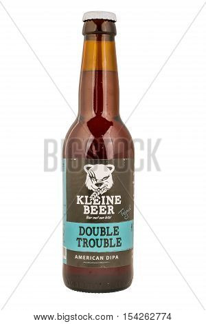 NETHERLANDS - LEIDSCHENDAM - MEDIA OCTOBER 2015: Kleine Beer beer bottle double trouble from Frisian Craft brewery in Lemmer.