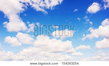 Beautiful view of blue sky and clouds. Real scene without any light effects.