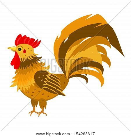 Rooster red crest drawing chicken . Brown leghorn rooster bird design animal. Multicolored rooster farm chinese bird. Colored rooster leghorn cockerel year beautiful decoration.