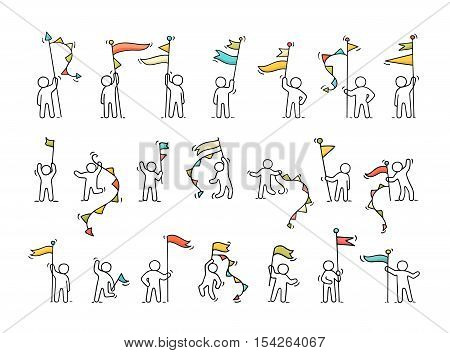 Cartoon icons set of sketch little people with party symbols. Doodle cute miniature scenes of workers with flags. Hand drawn vector illustration for celebration.