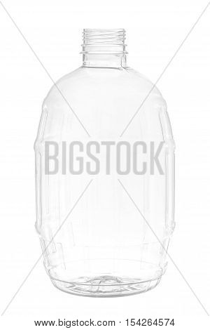 New, clean, empty plastic bottle isolated on white background, barrel-shaped.